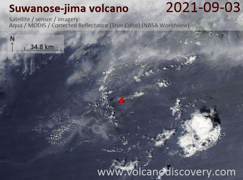 Satellite image of Suwanose-jima volcano on  4 Sep 2021