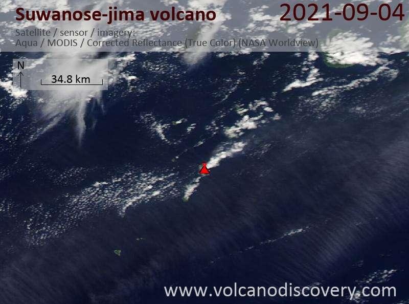 Satellite image of Suwanose-jima volcano on  5 Sep 2021