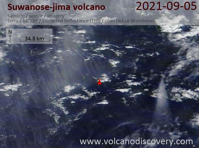 Satellite image of Suwanose-jima volcano on  6 Sep 2021