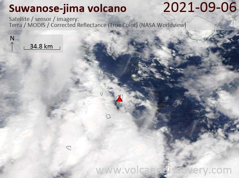 Satellite image of Suwanose-jima volcano on  7 Sep 2021