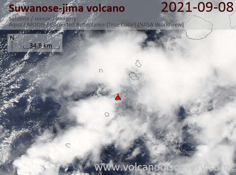Satellite image of Suwanose-jima volcano on  9 Sep 2021
