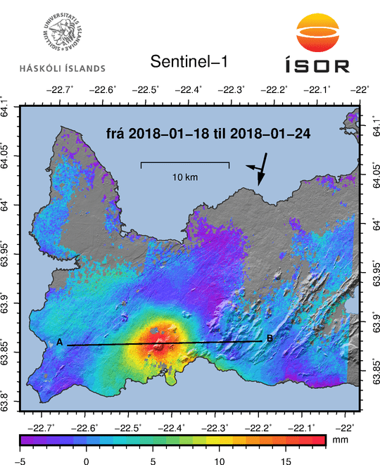 InSAR data showing inflation. Credit: IMO.