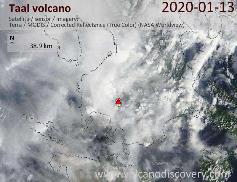 Спутниковое изображение вулкана Taal 13 Jan 2020
