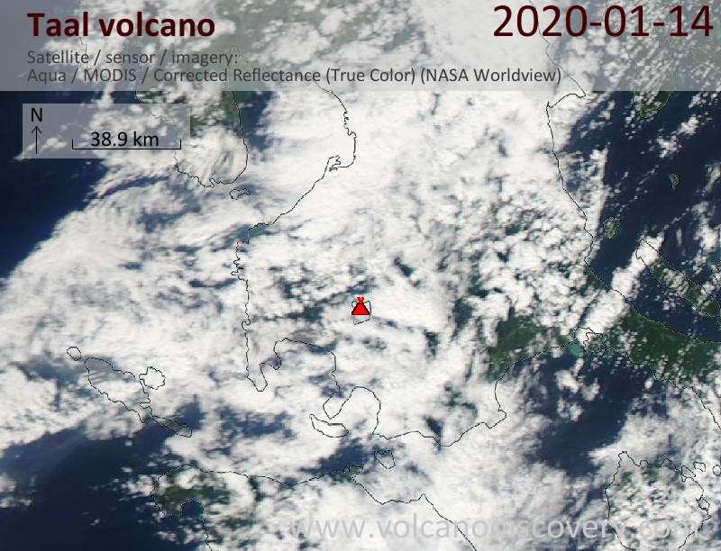Спутниковое изображение вулкана Taal 15 Jan 2020