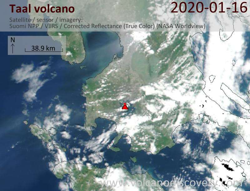 Satellite image of Taal volcano on 16 Jan 2020