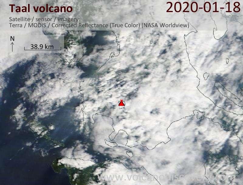 Satellite image of Taal volcano on 18 Jan 2020