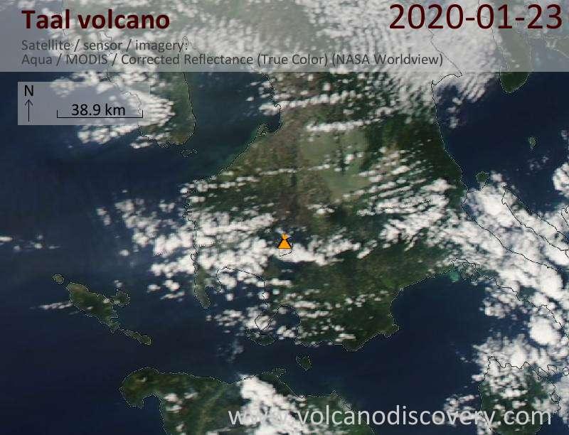 Спутниковое изображение вулкана Taal 23 Jan 2020
