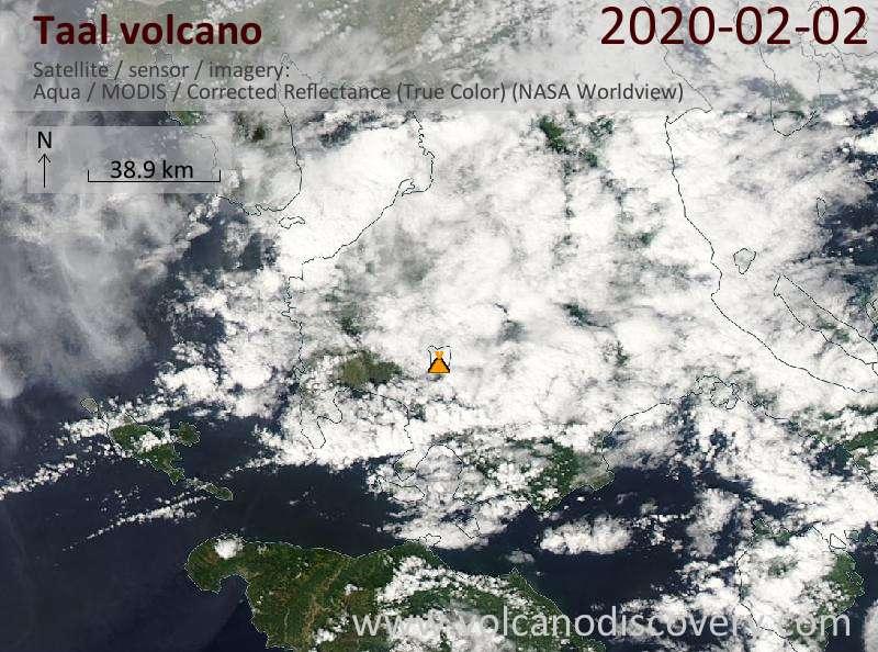 Satellitenbild des Taal Vulkans am  2 Feb 2020