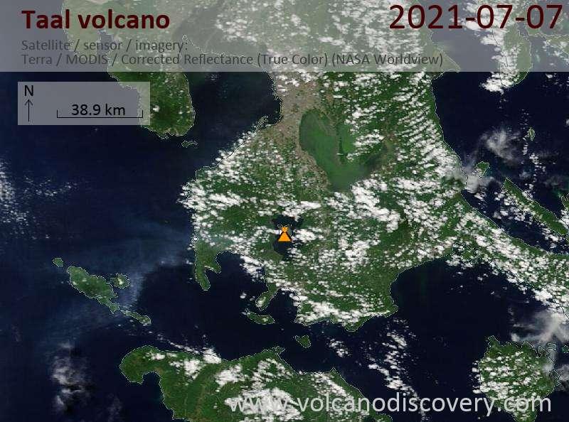 Satellite image of Taal volcano on  7 Jul 2021