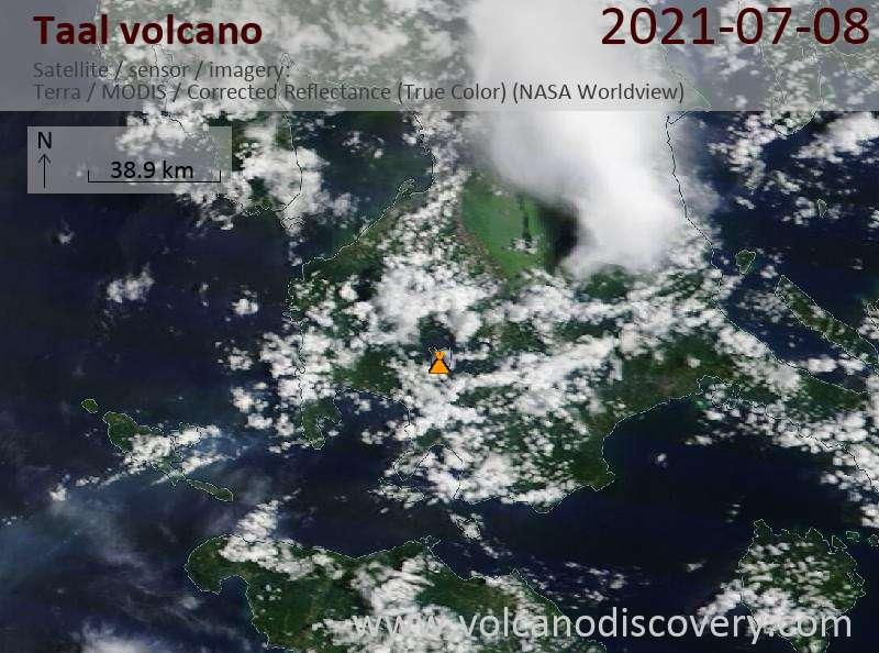 Satellite image of Taal volcano on  8 Jul 2021