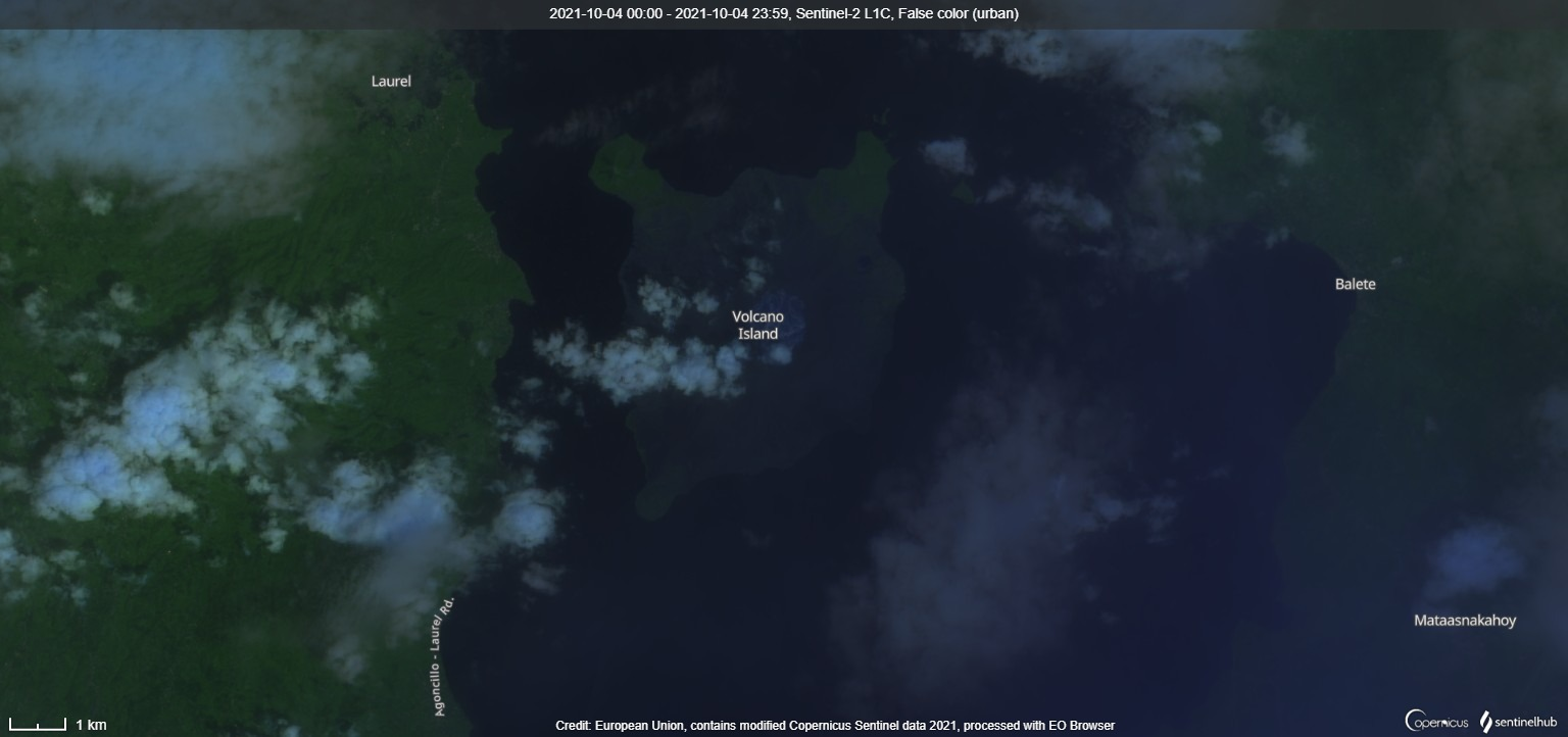 Taal volcano from satellite on 4 October (image: Sentinel 2)