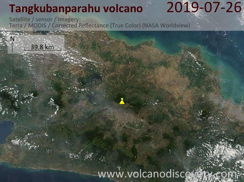 Спутниковое изображение вулкана Tangkubanparahu 26 Jul 2019