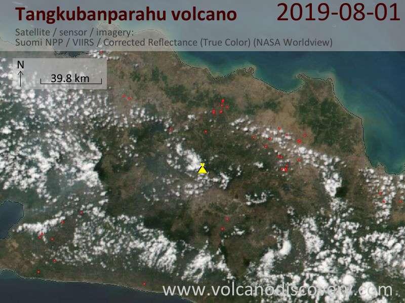 Satellite image of Tangkubanparahu volcano on  1 Aug 2019