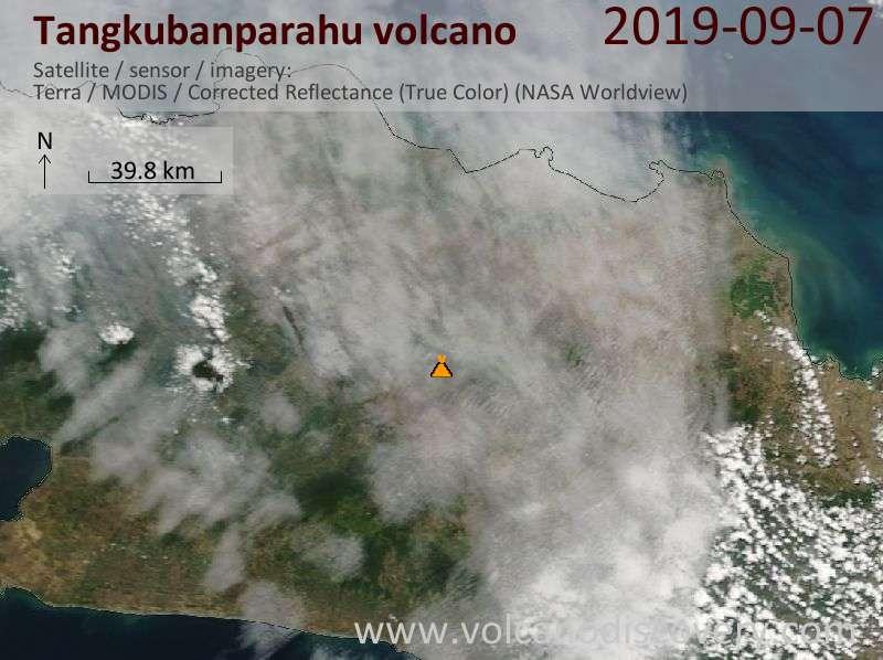 Спутниковое изображение вулкана Tangkubanparahu  7 Sep 2019