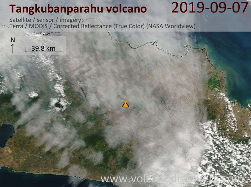 Satellite image of Tangkubanparahu volcano on  7 Sep 2019