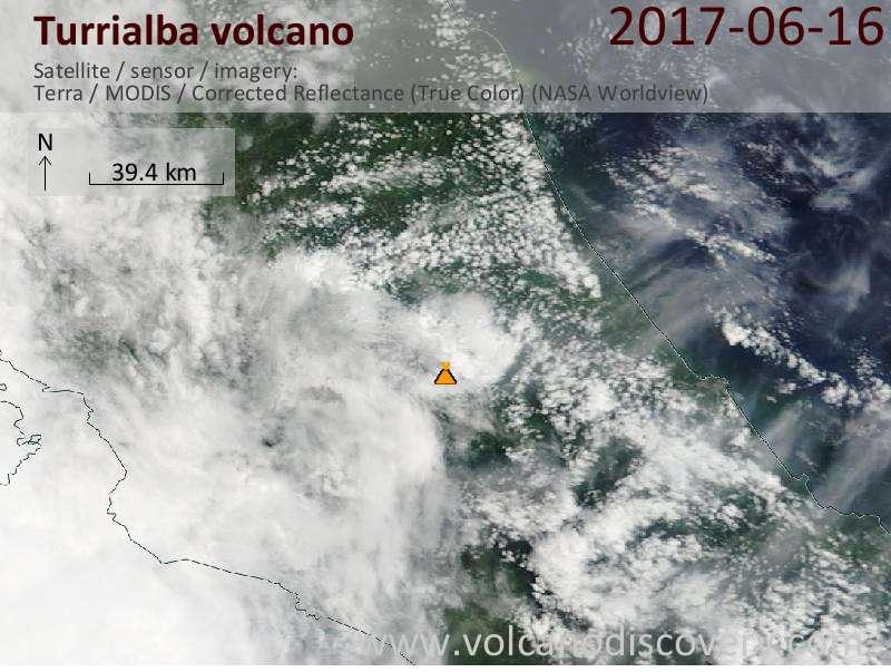 Satellite image of Turrialba volcano on 17 Jun 2017