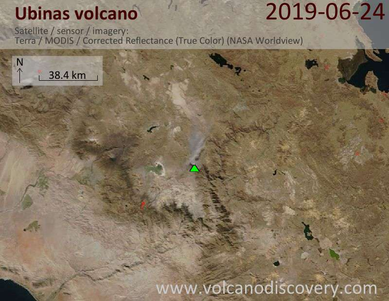 Satellite image of Ubinas volcano on 25 Jun 2019