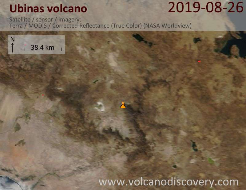 Satellite image of Ubinas volcano on 26 Aug 2019