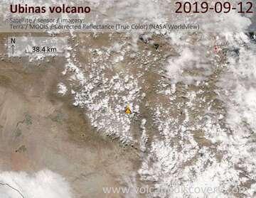 Satellite image of Ubinas volcano on 12 Sep 2019