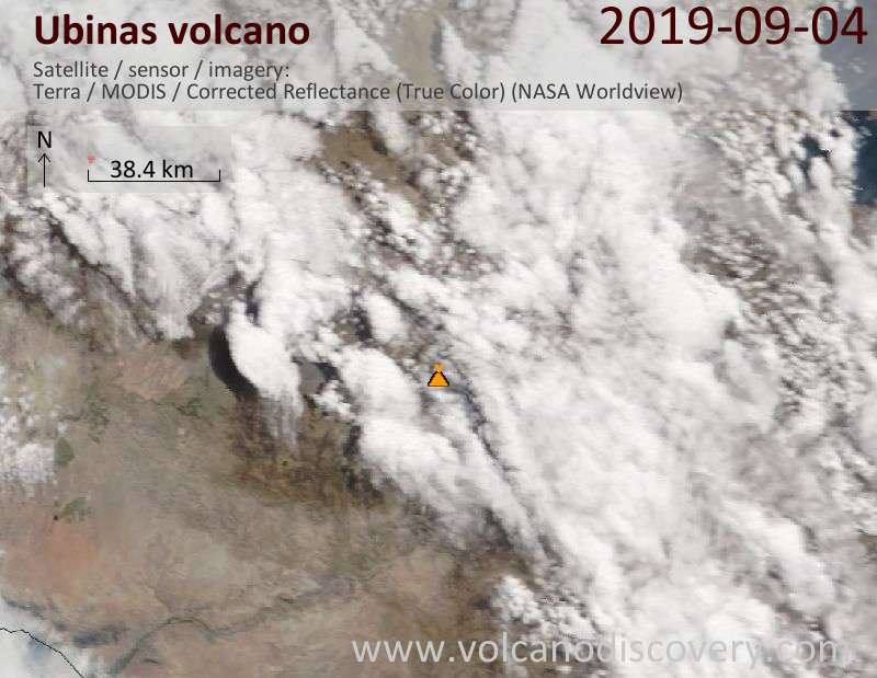 Satellite image of Ubinas volcano on  4 Sep 2019