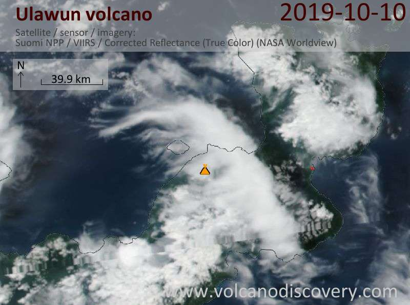 Ulawun volcano visible from Suomi NPP satellite (image: NASA)