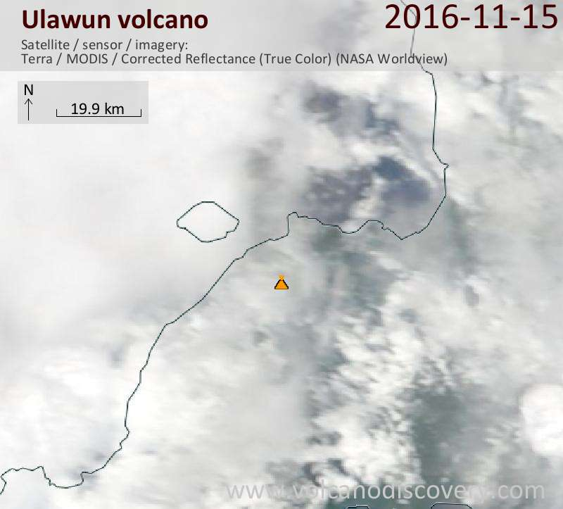 Satellite image of Ulawun volcano on 15 Nov 2016