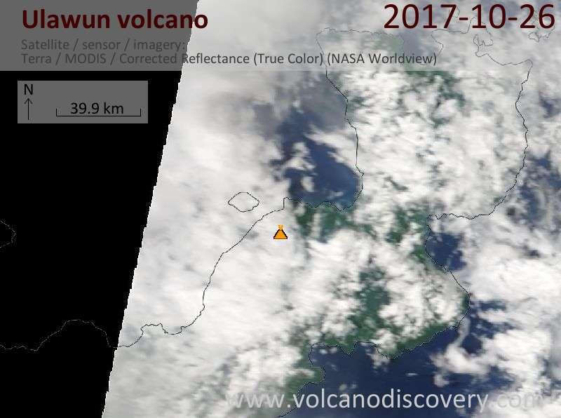 Satellite image of Ulawun volcano on 26 Oct 2017