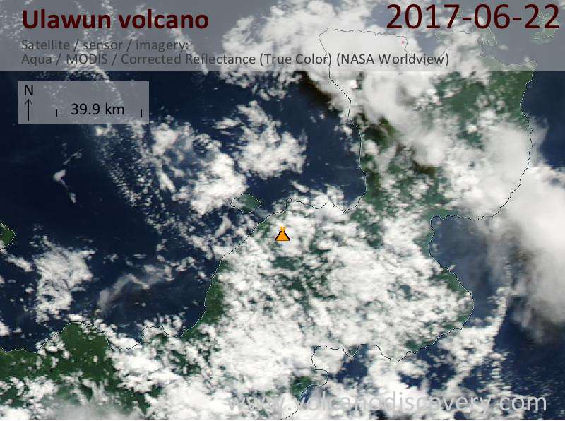 Satellite image of Ulawun volcano on 22 Jun 2017