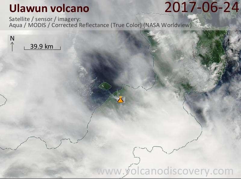 Satellite image of Ulawun volcano on 24 Jun 2017