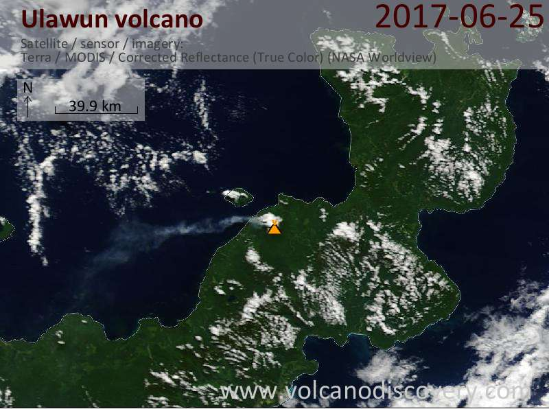 Satellite image of Ulawun volcano on 27 Jun 2017