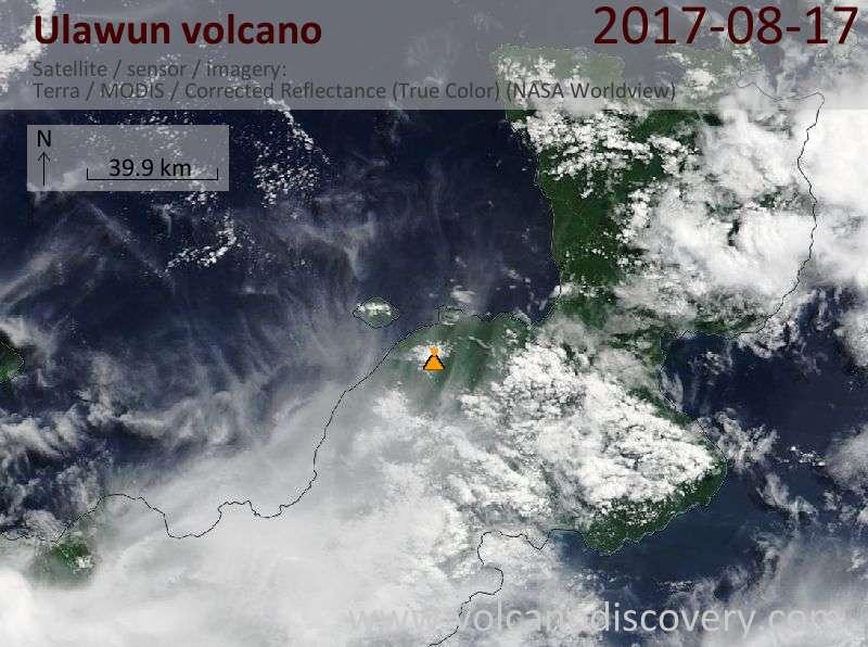 Satellite image of Ulawun volcano on 17 Aug 2017
