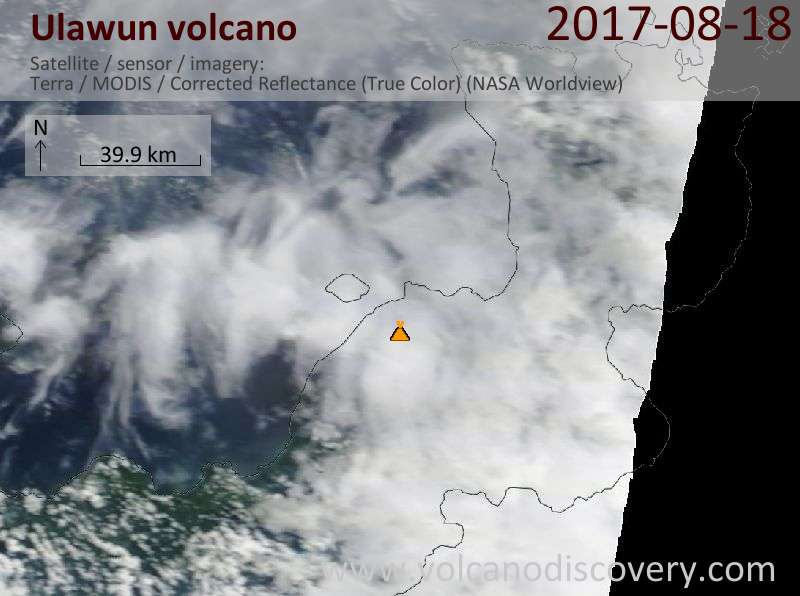 Satellite image of Ulawun volcano on 18 Aug 2017