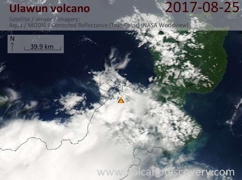 Satellite image of Ulawun volcano on 25 Aug 2017