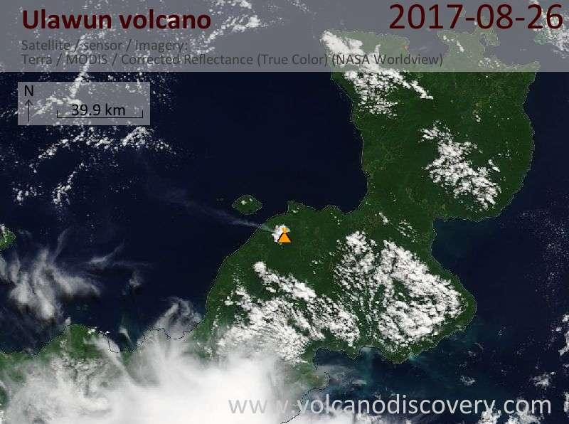 Satellite image of Ulawun volcano on 26 Aug 2017