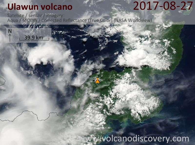 Satellite image of Ulawun volcano on 27 Aug 2017