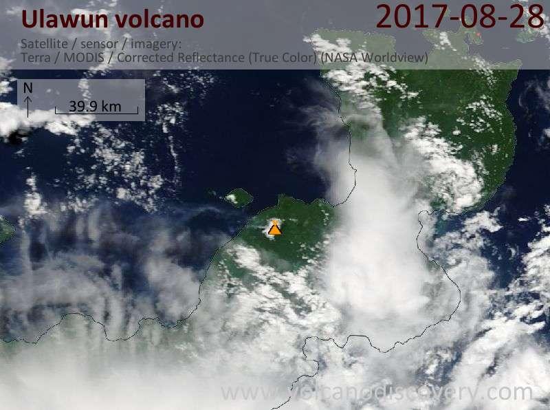 Satellite image of Ulawun volcano on 28 Aug 2017