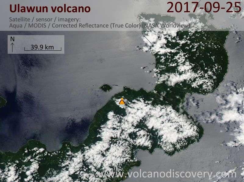 Satellite image of Ulawun volcano on 25 Sep 2017