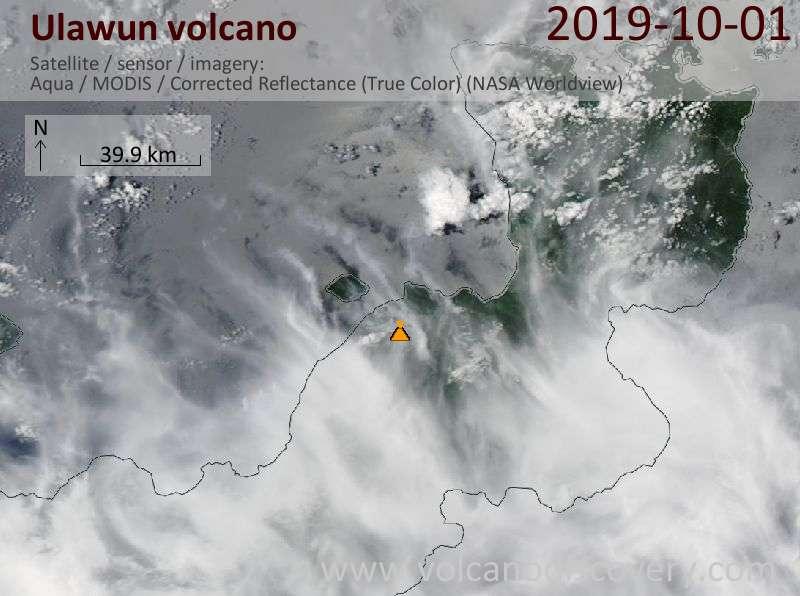 Satellitenbild des Ulawun Vulkans am  1 Oct 2019
