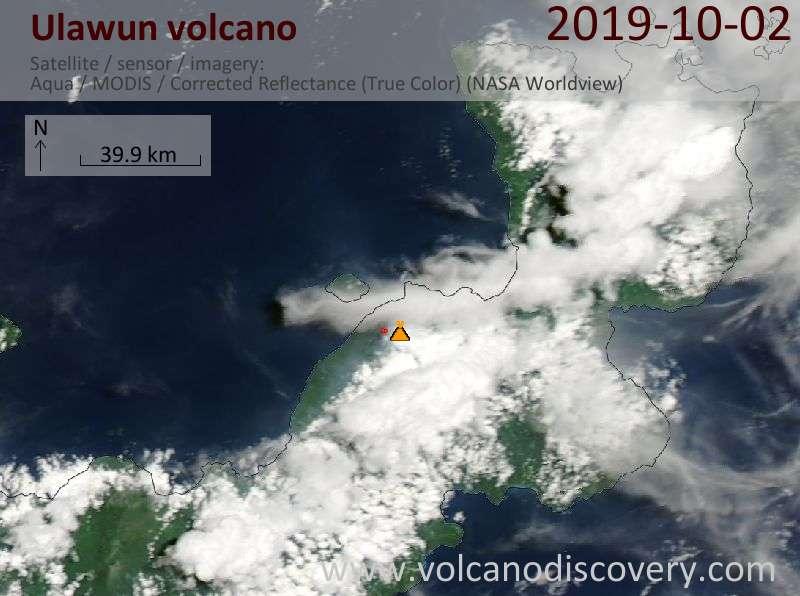 Satellitenbild des Ulawun Vulkans am  2 Oct 2019