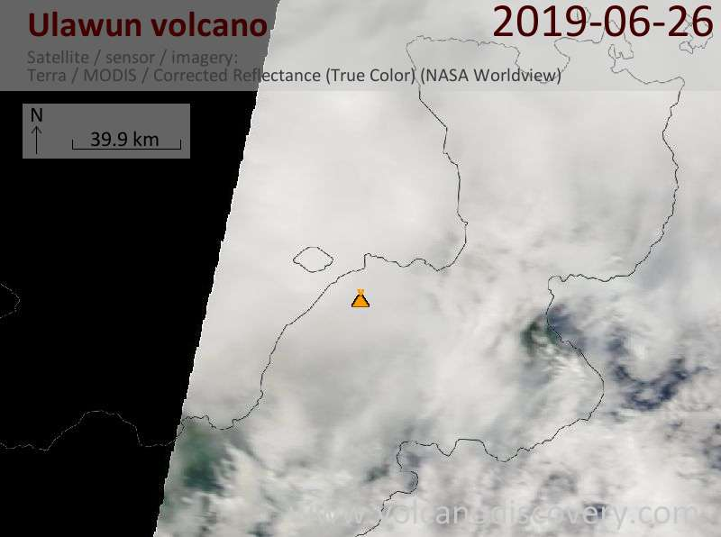 Satellite image of Ulawun volcano on 26 Jun 2019