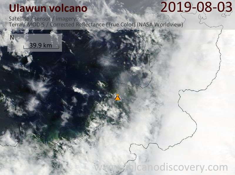 Satellitenbild des Ulawun Vulkans am  3 Aug 2019