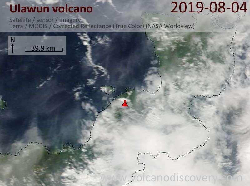 Satellite image of Ulawun volcano on  4 Aug 2019
