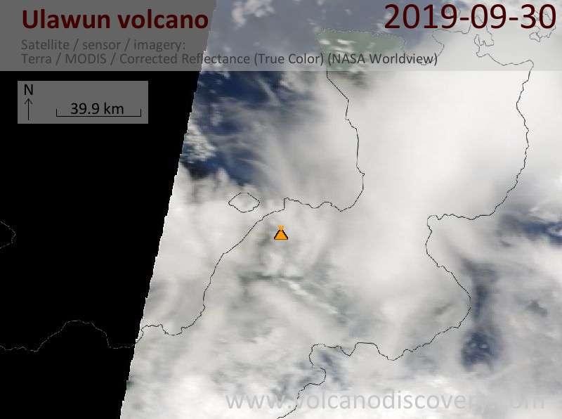 Satellite image of Ulawun volcano on 30 Sep 2019