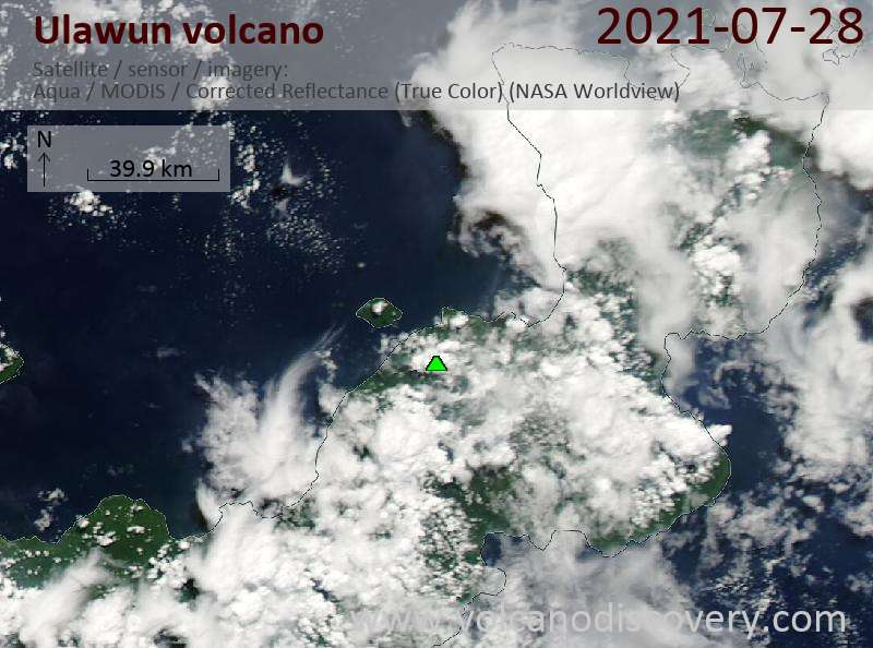 Satellite image of Ulawun volcano on 29 Jul 2021