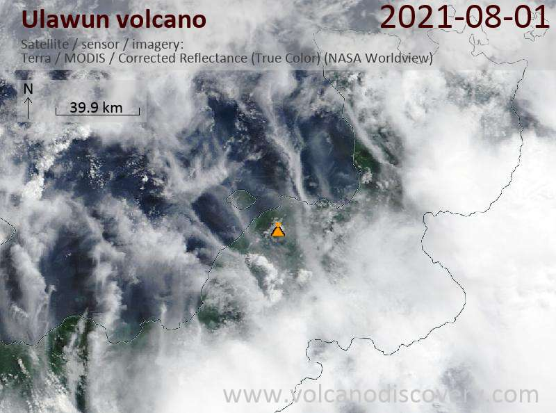 Satellite image of Ulawun volcano on  3 Aug 2021