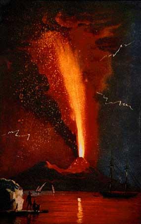 Le Vésuve en éruption en Août 1779. Cette éruption a produit de spectaculaires fontaines de lave s'élevant à plusieurs kilomètres au-dessus du sommet, et des chutes dévastatrices de téphras dans le NE du volcan. Notez les grandes bombes incandescentes dans les retombées (Image de Alfano et Friedlaender, 1928, La storia del Vesuvio. Napoli: K Holm, 71p.)
