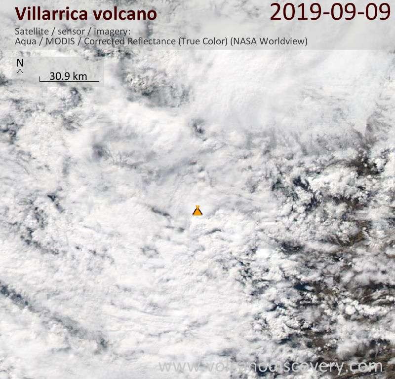 Satellite image of Villarrica volcano on  9 Sep 2019