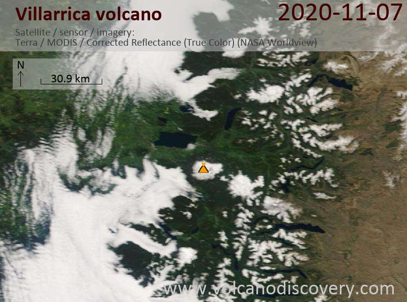 Satellite image of Villarrica volcano on  7 Nov 2020