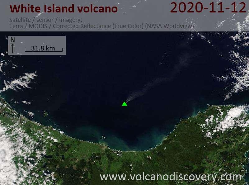 Satellite image of White Island volcano on 12 Nov 2020