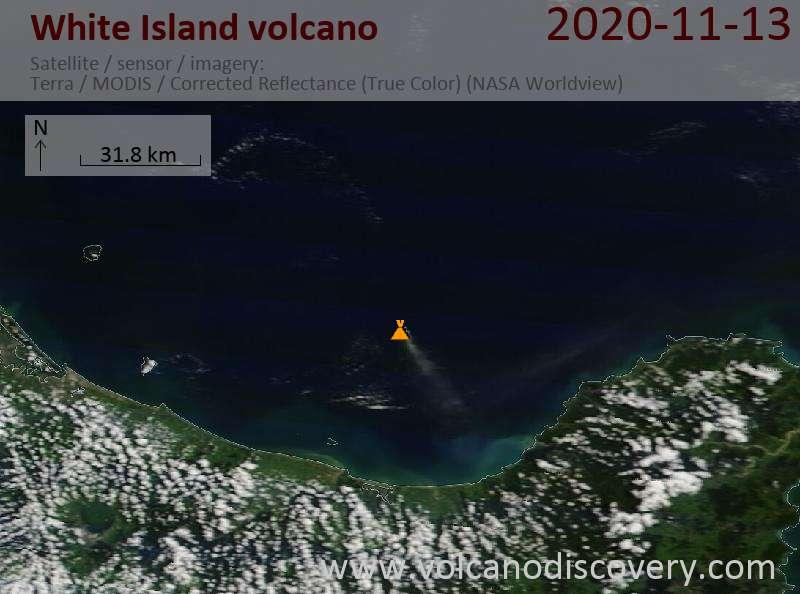 Satellite image of White Island volcano on 13 Nov 2020